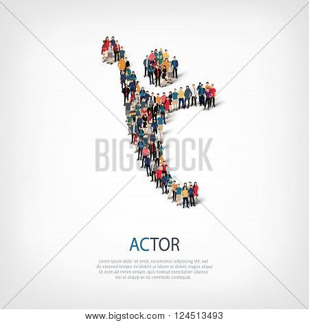 Isometric set of styles, actor sign , web infographics concept  illustration of a crowded square, flat 3d. Crowd point group forming a predetermined shape. Creative people. - Vector Illustration. Stock vector.