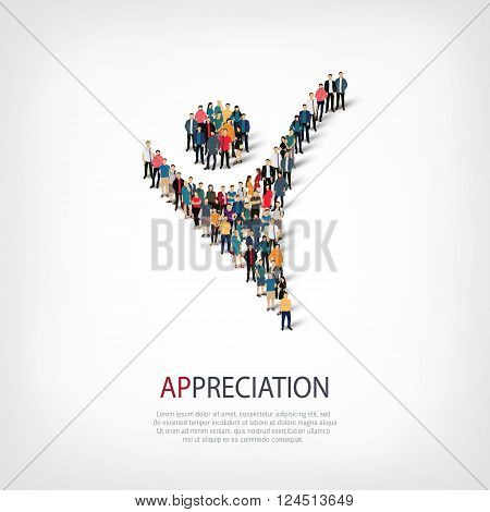 Isometric set of styles, appreciation sign , web infographics concept  illustration of a crowded square, flat 3d. Crowd point group forming a predetermined shape. Creative people. - Vector Illustration. Stock vector.