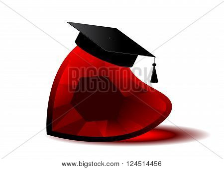 icon law. Red heart and the bachelor's cap on a white background.