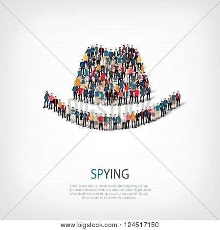 Isometric set of styles, spying , web infographics concept  illustration of a crowded square, flat 3d. Crowd point group forming a predetermined shape. Creative people. - Vector Illustration. Stock vector.
