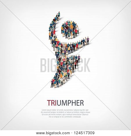 Isometric set of styles, triumpher, web infographics concept  illustration of a crowded square, flat 3d. Crowd point group forming a predetermined shape. Creative people. - Vector Illustration. Stock vector.