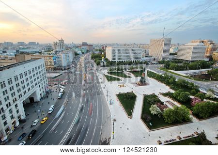 Yakimanka Street with moving cars at evening in Moscow, Russia, long exposure