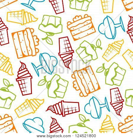 Cupcakes and ice cream seamless pattern with outline tasty muffins topped with cherry fruits, chocolate tiered cakes with cream, soft serve ice cream cones and sundae desserts over white background. Pastry, bakery and dessert themes design