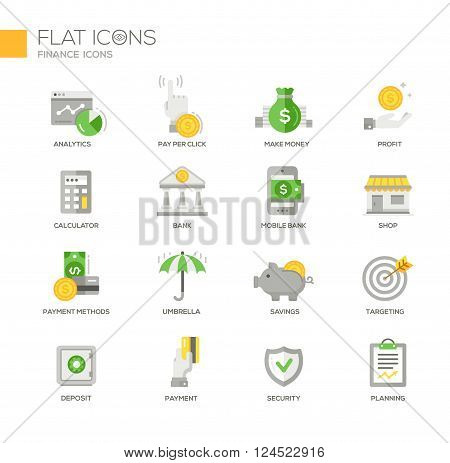 Set of modern vector office thin line flat design icons and pictograms. Collection of business infographics objects and web elements. Analytics, make money, calculator, bank, payment methods, insurance, savings. targeting, deposit, security, planning