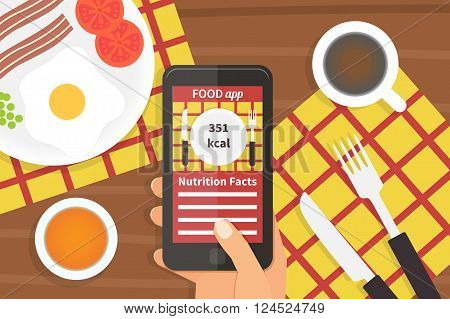 Diet food application on smartphone. Calorie counter app. Vector illustration