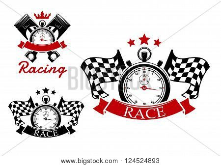 Motorsport and racing icons design with stopwatches and checkered flags on both sides or crossed pistons on background adorned by stars, crown and ribbon banners