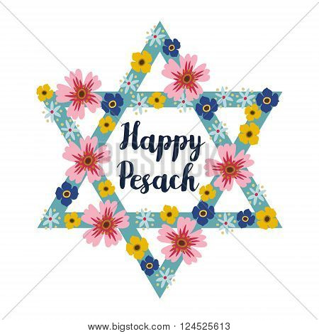 Pesach Passover greeting card with jewish star and hand drawn flowers vector illustration background