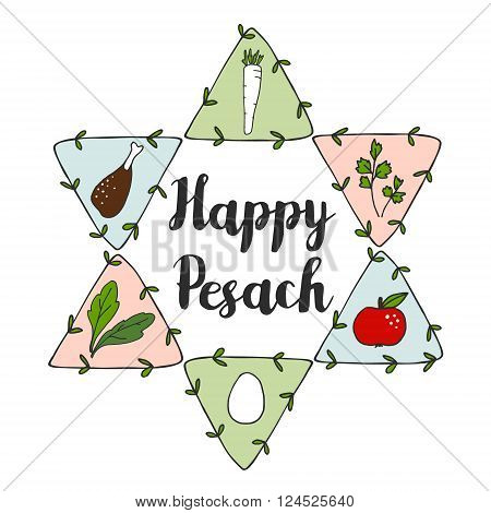 Jewish Pesach Passover greeting card with seder doodle icons and jewish star vector illustration background