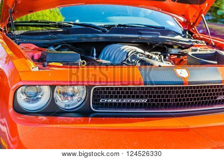 ATLANTA GEORGIA - April 3 2016: Caffeine and Octane is a nationally recognized car show held monthly displaying hundreds of classic and muscle cars at Perimeter Mall.
