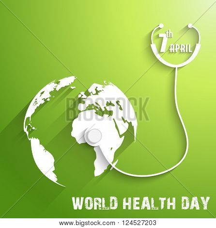 Illustration of World Health Day on green background