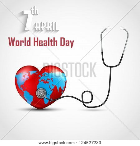 Illustration of World health day concept with DNA and globe inside a heart