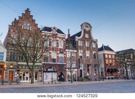 GRONINGEN, NETHERLANDS - APRIL 4, 2016: Old buildings at the Vismarkt in Groningen, Netherlands