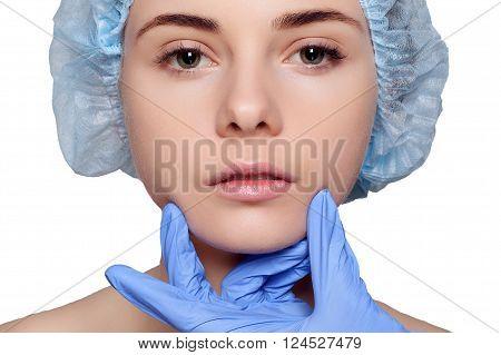 Beauty Woman Face Surgery Close Up Portrait