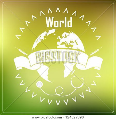 Illustration of World Health Day concept with typography ribbon on green background