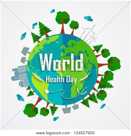 Illustration of World health day concept with environmental of earth