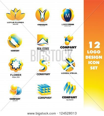 Vector company logo icon element template set lotus flower sphere alphabet letter m s circle flower abstract real estate cube
