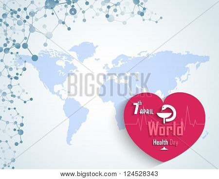 Illustration of World health day concept with DNA and a heart