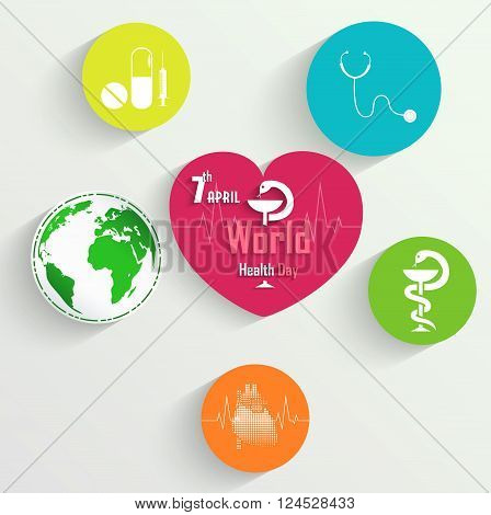 Illustration of Sticker with medical tools, medicine and globe for World Health Day concept