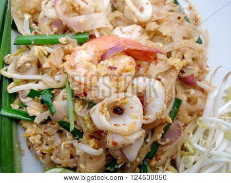 Thai Style Noodles. Thailand's National Dishes, Stir-fried Rice Noodles With Shrimp And Squid (pad T