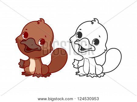 Cute little platypus. Cartoon vector character isolated on a white background with black outline.