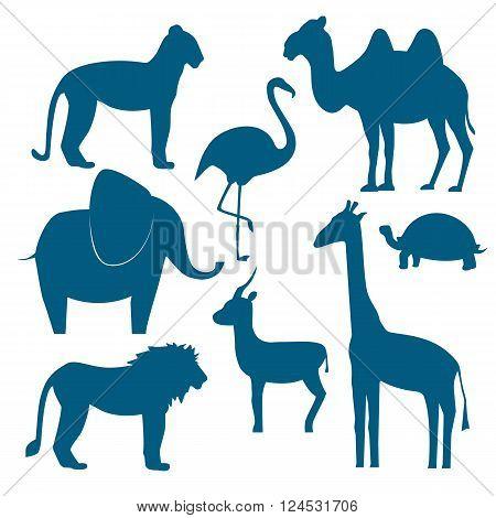 Vector animals set including giraffe, turtle elephant lion leopard flamingo gazelle camel. Flat disign. Vector illustration silhouette of animals