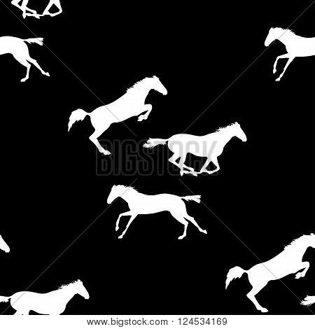 Vector seamless pattern with horses. White horse seamless pattern on blackboard. Running and jumping herd of horses. background with Equine sports theme