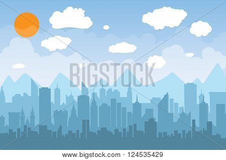 Morning city skyline. Buildings silhouette cityscape with mountains. Big city streets. Blue sky with sun and clouds. Vector illustration