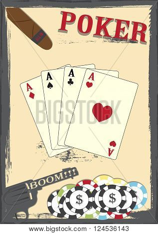 old grunge poker texas poster cards ,chips and colt