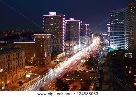 Night beautiful Highway New Arbat in Moscow, Russia, long exposure