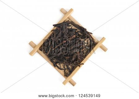 Honey Orchid Dan Cong Phoenix Bird?? Oolong on bamboo serving tray, isolated on white background