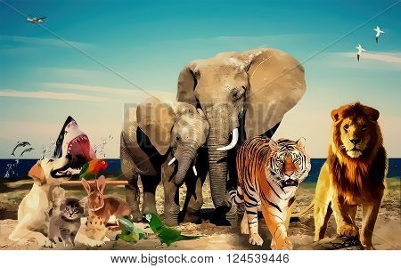 photo manipulation animals background manipulated by Photoshop useful for background or animals works