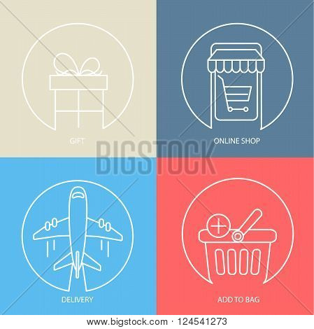 Outline e-commerce web icon set - gift, delivery, online shop, bag. Modern vector logo collection concept.