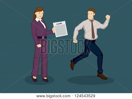 Cartoon man running away from woman employee holding a claim form. Vector illustration on avoiding business expenses concept isolated on green background.