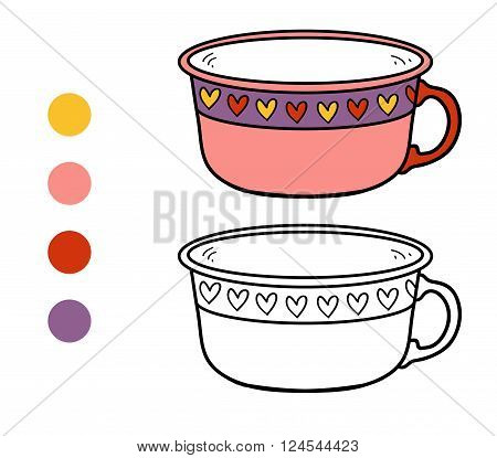Coloring Book For Children. A Mug With Heart Pattern