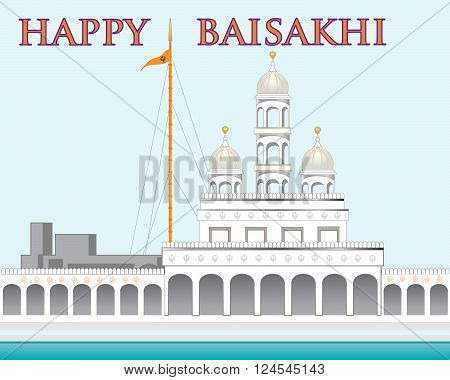 an illustration of a beautiful gurdwara on a blue background with the words happy baisakhi for the sikh festival