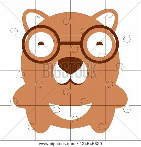 Vector puzzle game for children. Puzzle with bear. Jigsaw game for kid. Visual rebus puzzle educational game for preschool child