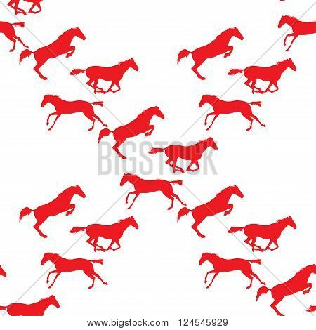 Running and jumping herd of horses. Vector seamless pattern with horses. Red horse seamless pattern on isolated background. Background with Equine sports theme