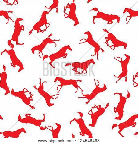 Realistic illustration of horse. Seamless pattern with silhouette of horse. Vector seamless pattern with horses. Red horse seamless pattern on isolated background