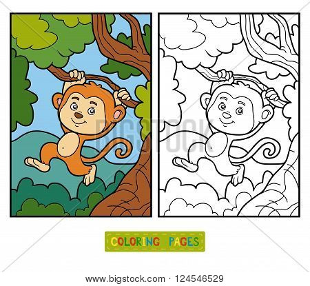 Coloring Book For Children, Little Monkey
