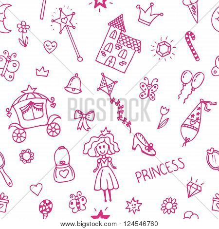 Hand drawn seamless pattern with princess girl doodle design elements. Sketchy fairy tale princess background. Vector illustration
