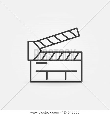 Clapboard line icon - vector movie or cinema symbol or logo element. Linear clapboard sign