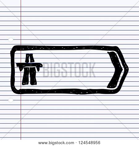 Simple Doodle Of A Road Sign Showing Direction