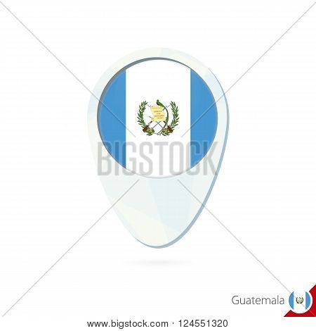 Guatemala Flag Location Map Pin Icon On White Background.