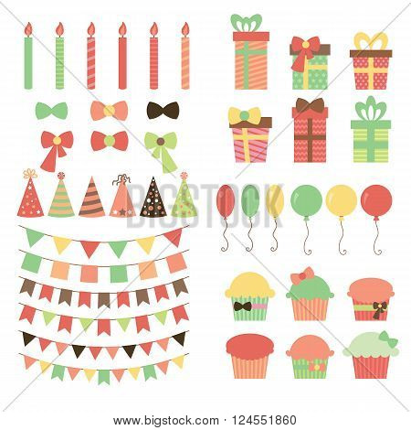 Set Of Birthday Party Design Elements. Colorful Balloons, Flags, Confetti, Gifts, Cupcakes, Candles,