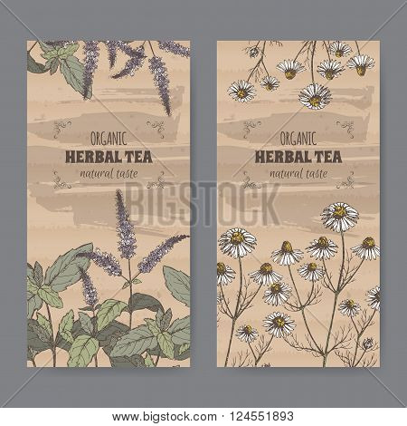 Set of two color vintage labels for peppermint and chamomile herbal tea. Placed on cardboard texture.