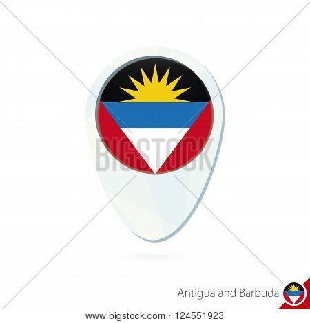 Antigua And Barbuda Flag Location Map Pin Icon On White Background.