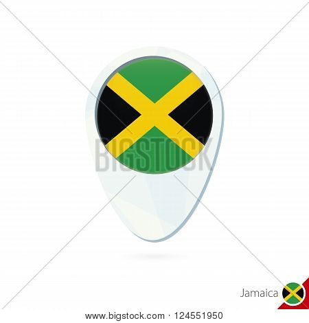 Jamaica Flag Location Map Pin Icon On White Background.