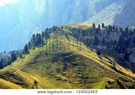 Gardena Pass dolomites protect by UNESCO Italy