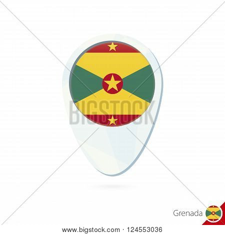 Grenada Flag Location Map Pin Icon On White Background.