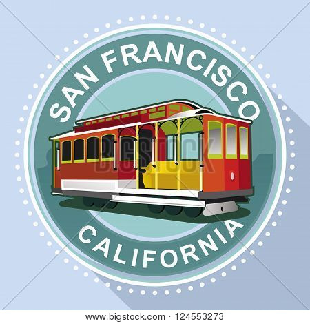 conceptual illustration of old tram in the city of San Francisco
